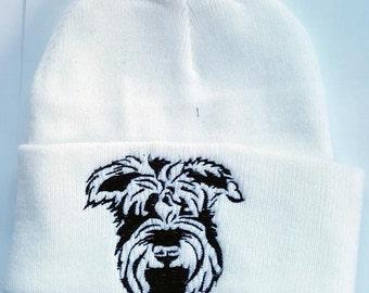 Schnauzer Embroidered Knit Hat