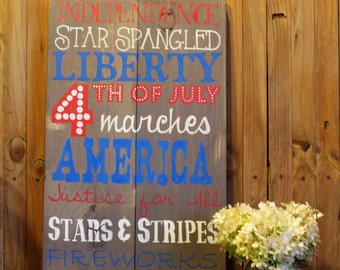 Rustic 4th of July Subway Art Sign