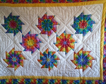 White Stack 'N Whack Twin Quilt *Hand Quilted*