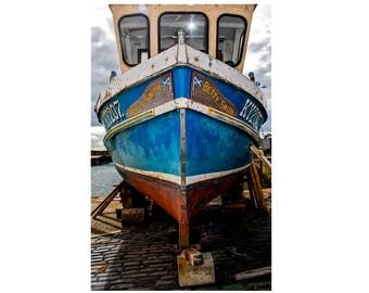"Nautical Photography, Boat Photography, Nautical Print, Weathered Wood, Harbor, Scotland Photography, Fine Art Photography, ""Betty Smith"""