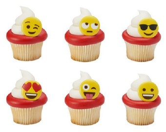 Emoticons Expression Faces 12 Cupcake Rings Cake Decorations Set of 12
