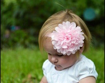 Pink headband - large flower headband - baby headband - infant headband - girls headband - chiffon flower headband - stretchy headband