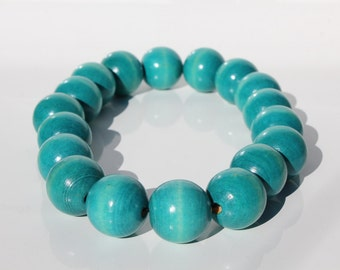 Teal chunky wooden bead vintage necklace