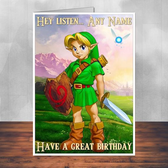 Zelda: Link Birthday Card. 5x7 Inches 128mm X By