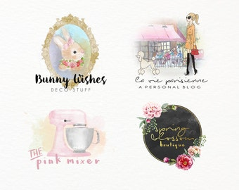MTO Custom Watercolor Pastel Business Shop Logo by PinkaholicDesigns