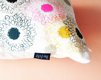 Linen Daisy Colourful Pillow / Cushion