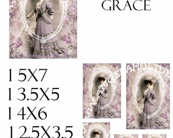 Edwardian Grace 4  (2) Sheet Digi Photo Set