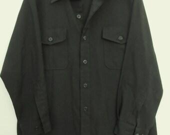 30% Off SaLE@@A Men's Vintage 70's Long Sleeve Black U.S. Navy SEAMAN'S Shirt.L