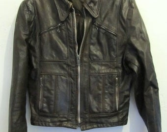 An AWESOME Mens Vintage 70's Brown BIKER LEATHER Jacket.M(38L)