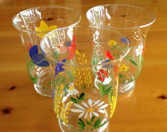 Set of Three Hand Painted Glass Votive Candle Holders with Flowers Bees Butterflies