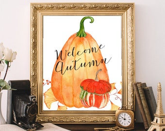 Pumpkin Art Print, Autumn Decor, Fall Art Print, Printable Wall Art, Welcome Autumn