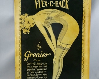 Vintage Metal Flex C Back Girdle Advertising Sign,