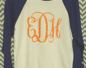 Glitter Monogram Clemson Raglan Baseball Shirt Adult / Youth / Kids