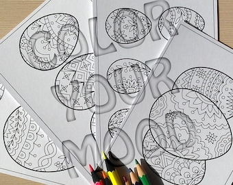 Hard copy: Easter eggs coloring postcards, 4 pcs.