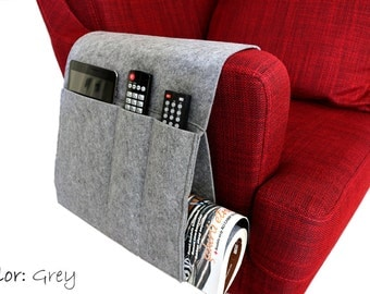 Grey Felt Sofa Organizer, Pocketed Armrest Organizer, Newspaper Magazine Remote Control Holder in Grey Color