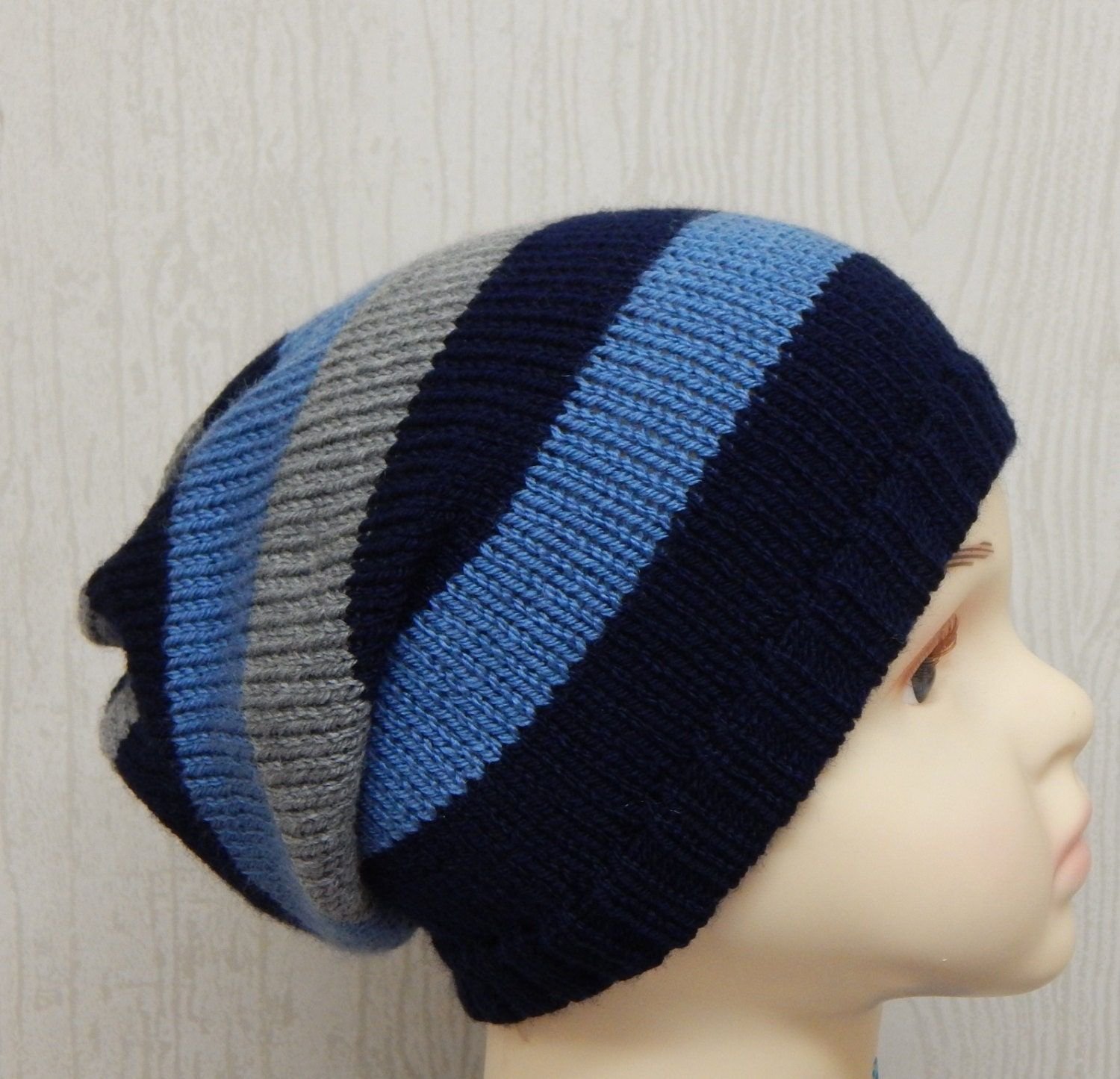 Knitting Hat For Toddler : Boys knitted slouch hat knit toddler slouchy beanie handmade