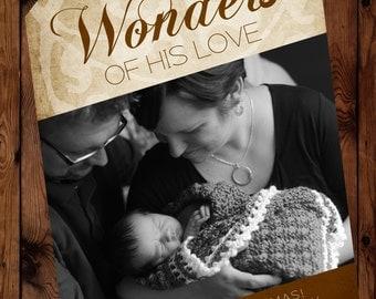 "Christmas Photo Card: ""Wonders of His Love"", Gift Tag Christmas Card, Holiday Photo Card, Photo Christmas Card, New Baby Christmas Card"