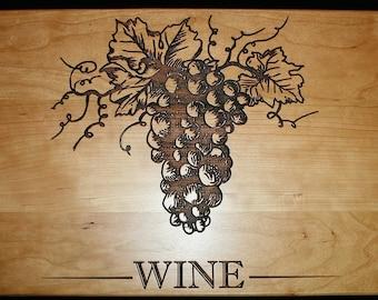 Wine Cutting Board, Personalized Cutting Board, Bunch of Grapes Cutting Board, Wedding Present, Housewarming Gift, Home Decor, Kitchen Decor