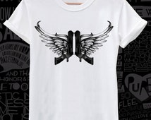 Guns with wings print on white lose or tight  fit cotton men women t-shirt avalible big sizes