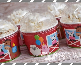 Set of 8 or 10-Farm Birthday Party Cups, Lids & Straws, Favor Cups or Snack Cups