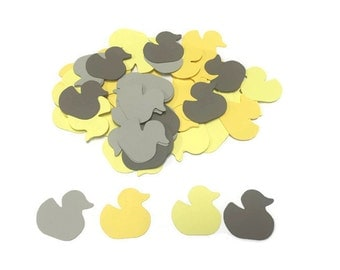 100 Yellow baby Duck Confetti, Die Cut Ducky, Baby Shower Decor, Yellow and Grey Baby Shower, Table Confetti, Shower Supply,Duck Theme Party