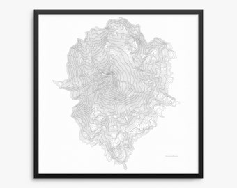 Mount Jefferson Poster, Mount Jefferson Oregon, Mount Jefferson Map Art, Mount Jefferson Contour Map, Home Decor, Office Decor