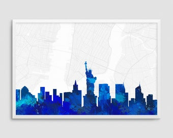 New York City New York Cityscape and Street Map Blue Watercolor Art Print Office or Home Wall Decor