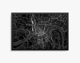 Cincinnati City Street Map, Cincinnati Ohio USA, Modern Art Print, Cincinnati Decor, Cincinnati Map, Cincinnati Poster, Cincinnati Gift Idea