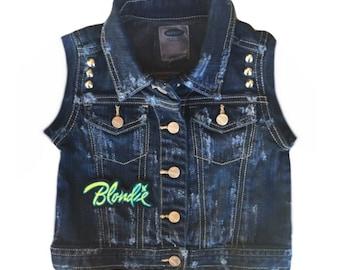Toddler girl vest. Size 2T Jean vest. Toddler girl clothes. Toddler girl jean vest. Blondie vest. Distressed denim. Girl clothes Baby denim