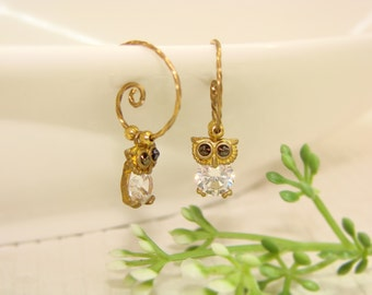 Mini owl  zircon Earrings,brass wire work,dangle& drop,Jewelry,gift, under25