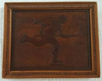 Vintage Marquetry Art - Hockey Player