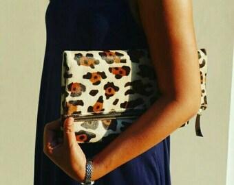 White Brown big cheetah, foldover clutch leopard print, fold over leather clutch, leopard calf hair fold ove clutch, leopard clutch