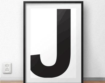 Typograghy J Letter Printable Wall Art | Scandinavian Print | Minimal Print | Large print 50x70 cm