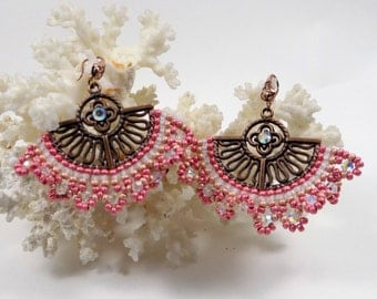 "earrings, ""Madrid"" in pink brick stitch"