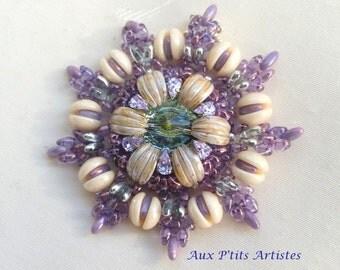 "pendant ""Circe 2"" purple and green travertine"