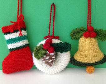 Knitted  Christmas decorations / ornament. Knitted Christmas gift/ stocking filler.