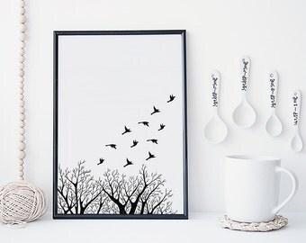 Art Print, Minimalism, Scandi, Bird, Nursery Decor, Bird Art Print, Wall Art, WINTER BIRDS