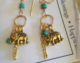 Good luck elephant earrings silver or gold