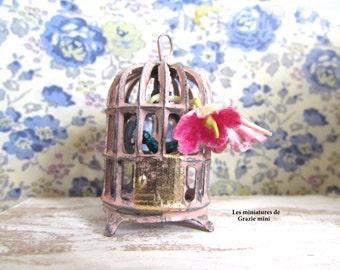 Oval Birdcage miniature - scale 1:12- Dollhouse miniature