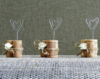 Place Card Holders, Wine Tasting Party Decor, Winery Wedding Decor, Wine Cork Place Card Holder, Rustic Wedding Decorations, Set of 15.