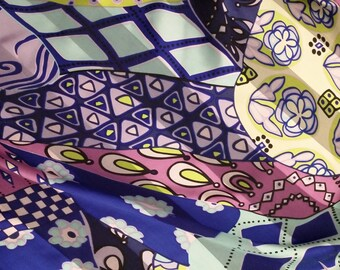 4.5 Yds of Pure Silk Jacquard Stripe Abstract Print Fabric