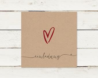 Wedding invitation | Kraft paper | Square | Heart | No 2
