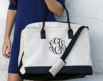 Linen Duffle Bag - Monogrammed - Travel Bag