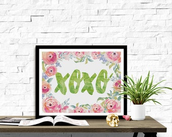 Floral XOXO Kisses & Hugs Valentine's Day 8x10 inch Poster Print - P1163