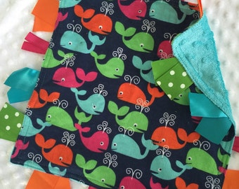 Personalized Tag Blanket Sensory Ribbon Blanket Lovey- Colorful Whales and Minky Dot