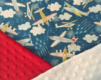 Personalized Minky Baby Blanket / Airplanes Planes / Custom with Personalization