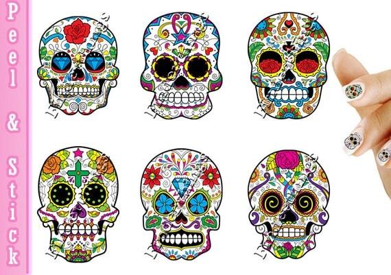 Sugar Skulls Day of the Dead Nail Art Decal Sticker Set SKU907