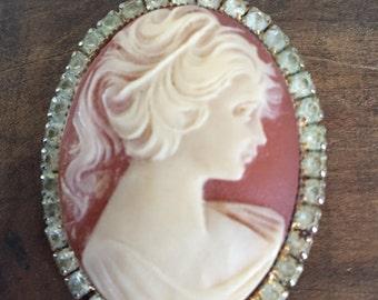 Vintage Cameo Pin with Rhinestones