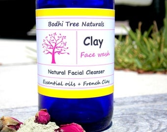 Clay Face Wash / Natural Facial Cleanser - Castile Soap Free - Clay cleanser - All Skin Type - Gentle Cleanser with French Green Clay (4oz)
