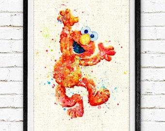 Sesame Street Prints, Elmo Prints, Watercolor Painting, Kids Room Decor, Baby Nursery Decor, Burlap Print, Home Decor, Holiday Gifts, NA355